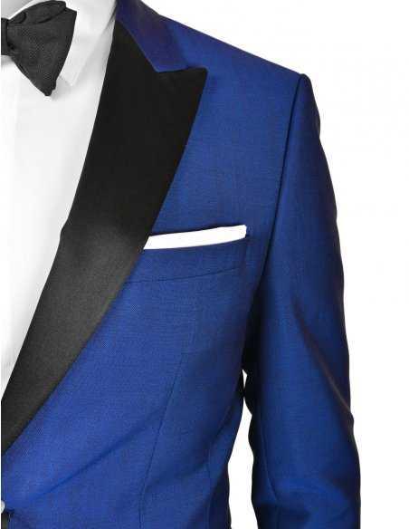 Smoking Boss black 3 pièces pour homme, laine et mohair bleu, empiècement en soie noire, mariage et cérémonie