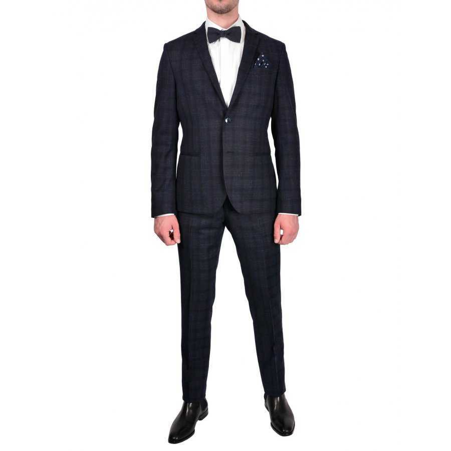 Costume, Manuel Ritz, bleu, laine vierge, carreaux, Business, homme dbb94bc79711