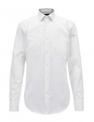 Chemise Boss blanche pour homme slim fit coupe étroite, business, en coton, poignets carrés