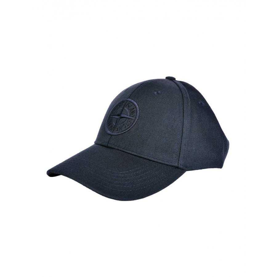 regarder 5b06b 351bc Casquette Stone Island bleue, coton, logo brodé, visière rigide