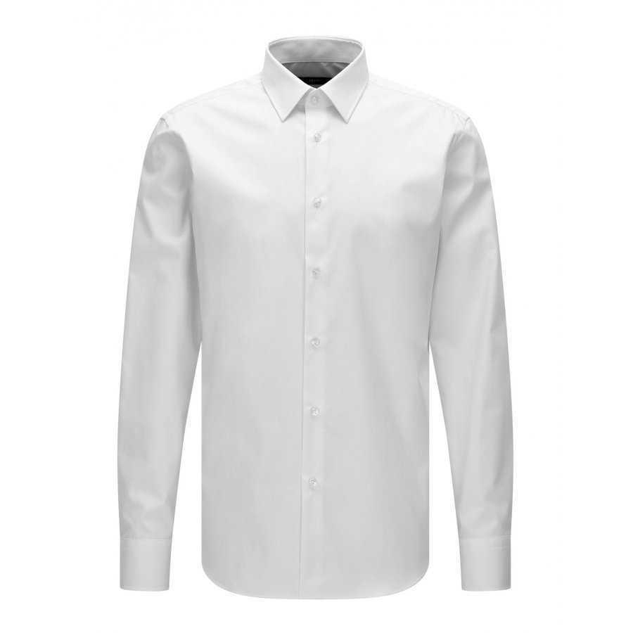 Chemise Boss blanc en coton pour homme coupe droite style business,  poignets cassés, col d942de62a907