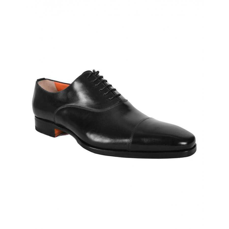 c09cc59432995e Chaussure Santoni noir en cuir style richelieus pour homme business city