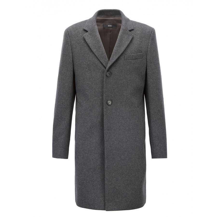 89715885037 Manteau Boss Black gris en laine vierge mélangé cachemire pardessus élégant  et sobre pour homme
