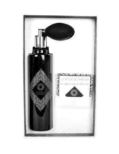 Vaporisateur d'intérieur Êverie senteur Desir poire noire tressé, verre noir laqué, boite blanche texturée