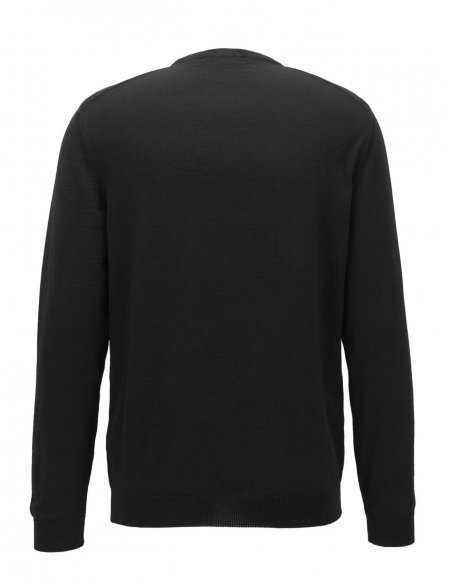 Pull Hugo Boss noir en laine vierge mérinos, col rond ras du cou pour homme, design sobre, logo brodé poitrine