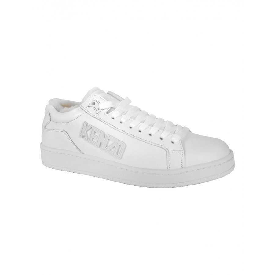 bb075d7c26a Chaussure kenzo blanc uni tennix promo cuir fourrure intérieure homme