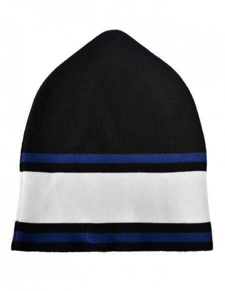 Bonnet Dsquared² en laine chaude et confortable aux bandes colorés contrastantes logo dsq
