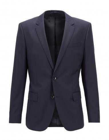 Veste Boss Black bleu en laine vierge col cranté au revers 2 fentes dans le dos fermeture 2 boutons