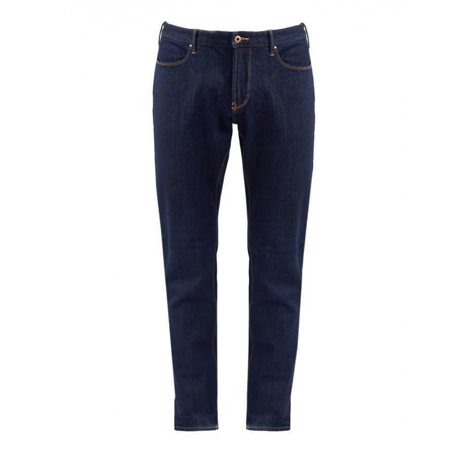 bbce7d2f95a Jeans Emporio Armani bleu en coton logo pas cher - Livraison offerte