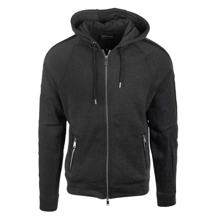 c41e778585dce Sweat Emporio Armani gris en coton à capuche réglable par cordon pour homme,  zip central