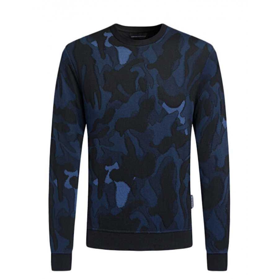 e7bf23fe249 Sweat Emporio Armani camouflage bleu pour homme en tissu technique col rond  et bordures côtelés
