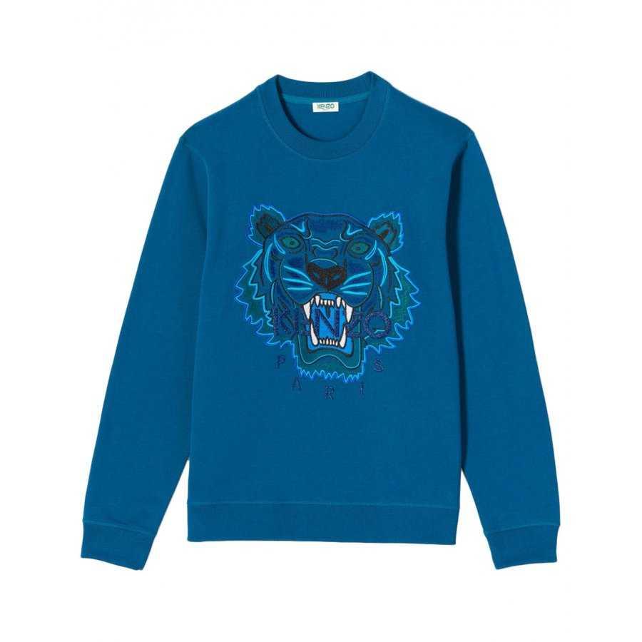 fd7daf7310a Sweat Kenzo bleu canard en coton molletoné tigre brodé ton sur ton