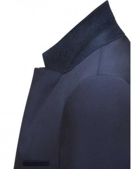Veste Hugo Boss alister en laine vierge pour homme coupe slim bleu marine, revers cranté