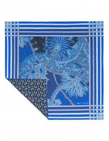 Pochette en soie bleu motifs paisley bleu, carré de 35cm, mariage cérémonie homme