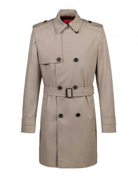 Manteau imperméable trench croisé beige Hugo Boss coupe droite confortable, raffiné look business