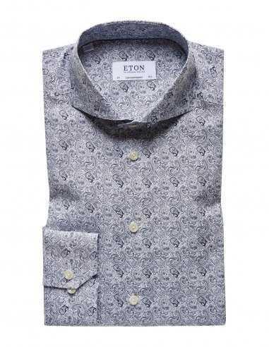 Chemise bleue Eton coupe slim pour homme motif imprimé rococo, imprimés bleu, boutons naturels en nacre