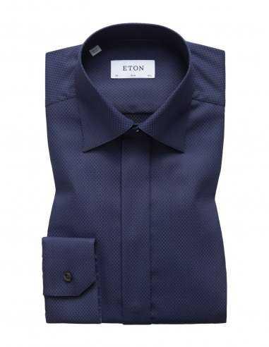 Chemise Eton bleu marine en coton pour homme effet de texture, business, patte de boutonnage cachée