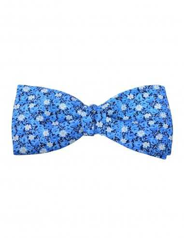 Noeud papillon Atelier F&B bleu à fleur en soie et coton, clasique look de cérémonie, pour homme élégant fermoir réglable