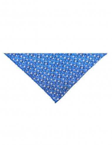 Pochette Atelier F&B bleu motif fleur, soie et coton mélangé, cérémonie, mariage, carré 19x19cm