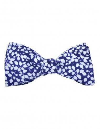Noeud papillon atelier f&b pour homme bleu motif feuillage en ton de bleu, attache agrafe réglable