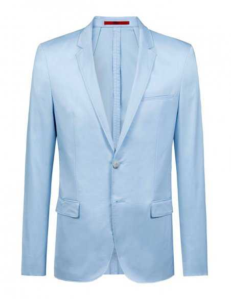 Veste bleu ciel Hugo Boss homme en coton stretch, ligne moderne, confortable, look casuals chic