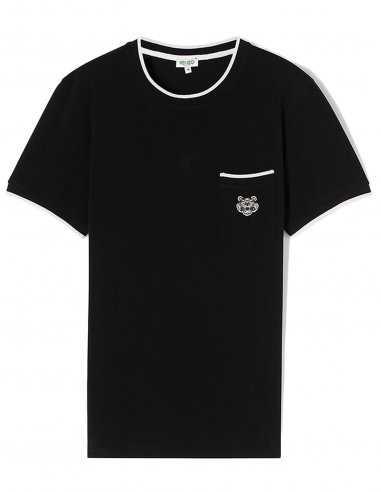 Tshirt Noir Kenzo Tigre Brodé poches, liseré blanc contrastant coupe droite esprit polo