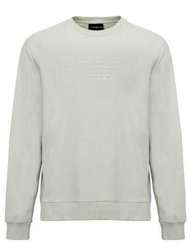 Sweatshirt Emporio Armani en vert clair en tissu technique stretch, logo relief ton sur ton