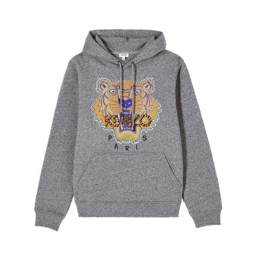 Sweatshirt à capuche Gris⎢Kenzo⎢Broderie Tête de Tigre