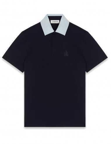 Polo-bleu-marine-coton-homme-lanvin-paris-logo-la-mere-et-lenfant-broderie-toulouse-marseille-bordeaux-lille