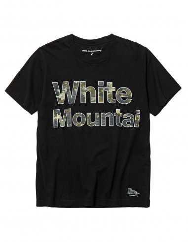 "White Mountaineering - T-shirt Noir imprimé ""Camo Logo"""