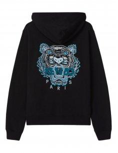 Kenzo - Sweatshirt zippé à capuche broderie Tigre au dos