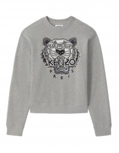 Kenzo - Sweatshirt Gris Perle broderie Tigre