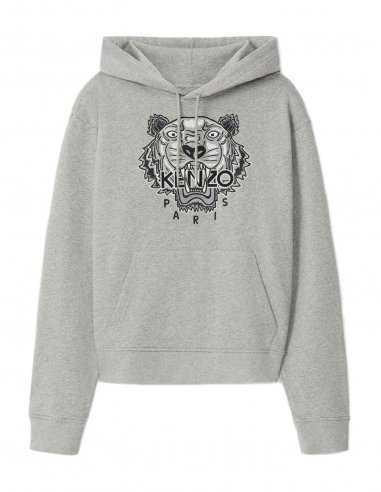 Kenzo - Sweatshirt à capuche Gris Perle broderie Tigre