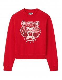 Kenzo - Sweatshirt à capuche Rouge broderie Tigre