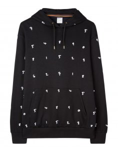 Paul Smith - Sweatshirt à capuche Noir brodé 'Numbers'