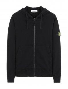 Stone Island - Sweat-Shirt zippé à Capuche Noir