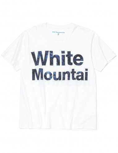 """White Mountaineering - T-shirt Blanc imprimé """"Feuilles Bleues"""""""