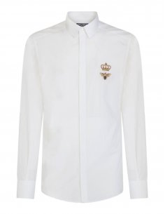 Dolce & Gabbana - Chemise Blanche Logo Ecusson brodé