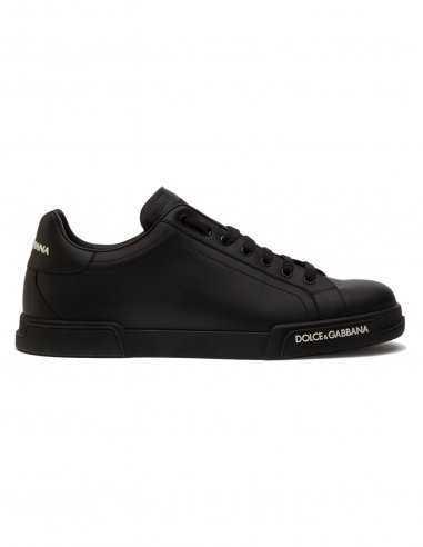Dolce & Gabbana - Sneakers Portofino Noires en cuir de veau nappa