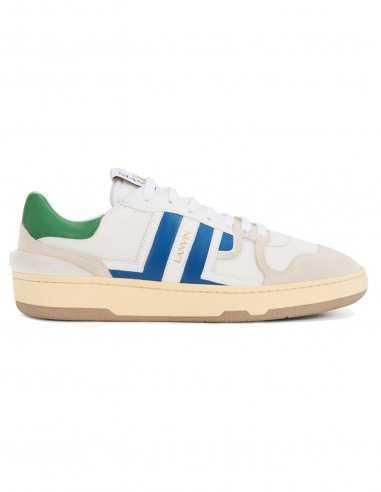 Lanvin - Sneakers basses en cuir blanc et bleu