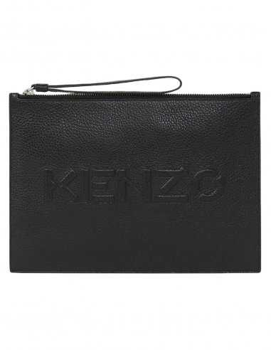Kenzo - Grande Pochette Noire en Cuir Grainé