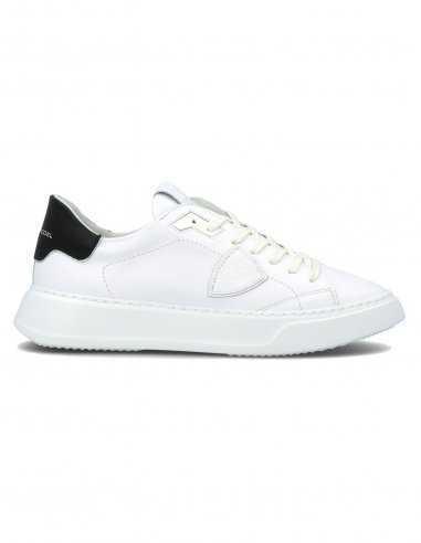 """Philippe Model - Sneakers """"Temple Veau"""" en cuir Blanc Noir"""