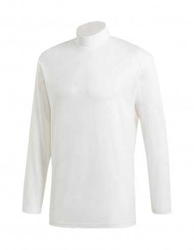 Y-3 Adidas - T-shirt Manches Longues à Col Cheminé Blanc