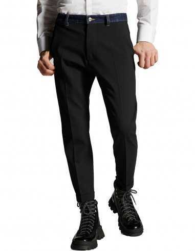 Dsquared2 - Pantalon en Laine Extensible en Denim Noir