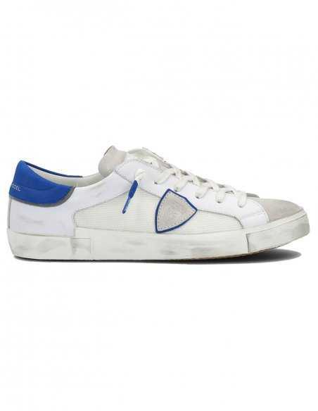 "Philippe Model - Sneakers ""Prsx Veau"" Blanches et Bleues   Toulouse"