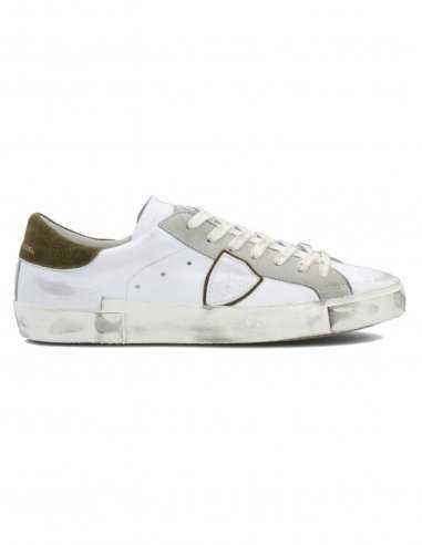 """Philippe Model - Sneakers """"Prsx Veau Mixage"""" Blanches et Vertes   Paris"""