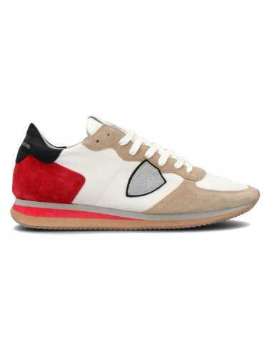"Philippe Model - Sneakers ""Trpx Mondial"" Blanches et Rouges 