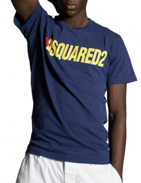 T-shirt Bleu Marine avec Logo Jaune | Dsquared2 Toulouse