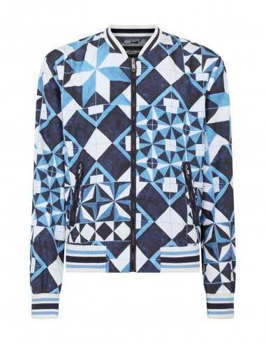 Blouson en Nylon Imprimé Bleu | Dolce & Gabbana pour Homme à Toulouse