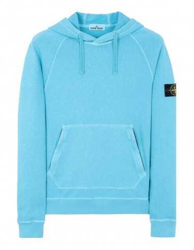 Sweat-shirt à Capuche en Coton Flammé Turquoise Stone Island Toulouse